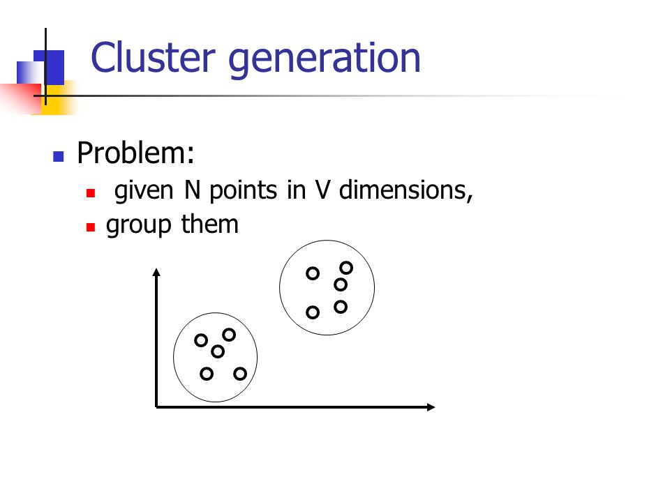 Cluster generation Problem: given N points in V dimensions, group them