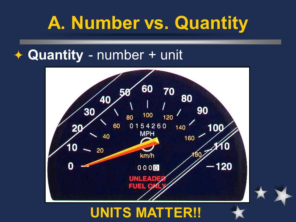 A. Number vs. Quantity  Quantity - number + unit UNITS MATTER!!