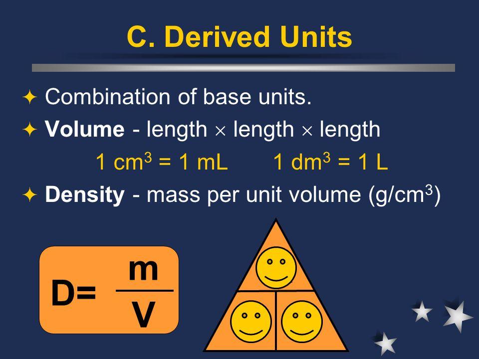 C. Derived Units  Combination of base units.  Volume - length  length  length 1 cm 3 = 1 mL 1 dm 3 = 1 L  Density - mass per unit volume (g/cm 3