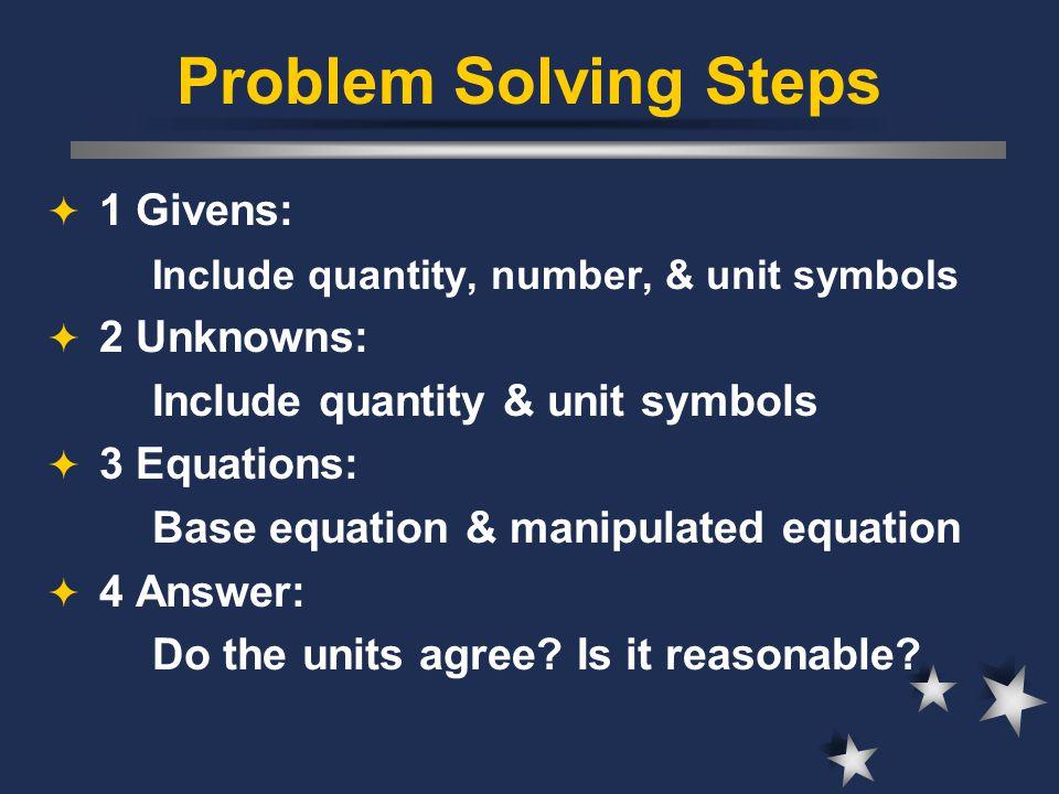 Problem Solving Steps  1 Givens: Include quantity, number, & unit symbols  2 Unknowns: Include quantity & unit symbols  3 Equations: Base equation