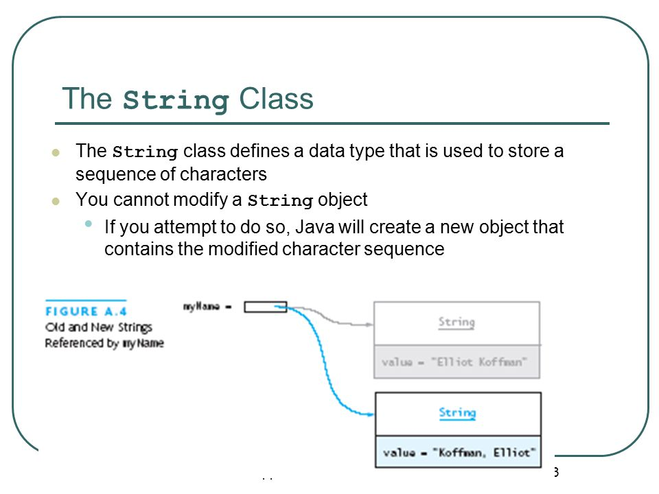 The String Class Appendix A: Introduction to Java 33 The String class defines a data type that is used to store a sequence of characters You cannot modify a String object If you attempt to do so, Java will create a new object that contains the modified character sequence