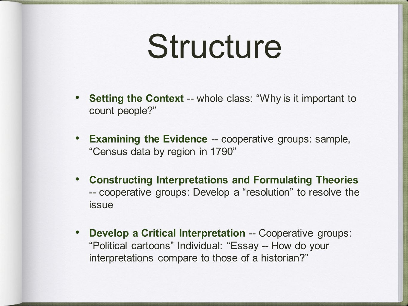 Structure Setting the Context -- whole class: Why is it important to count people Examining the Evidence -- cooperative groups: sample, Census data by region in 1790 Constructing Interpretations and Formulating Theories -- cooperative groups: Develop a resolution to resolve the issue Develop a Critical Interpretation -- Cooperative groups: Political cartoons Individual: Essay -- How do your interpretations compare to those of a historian