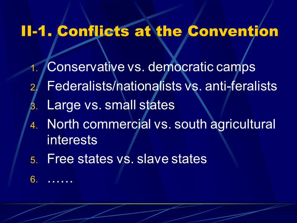 II-1. Conflicts at the Convention 1. Conservative vs.