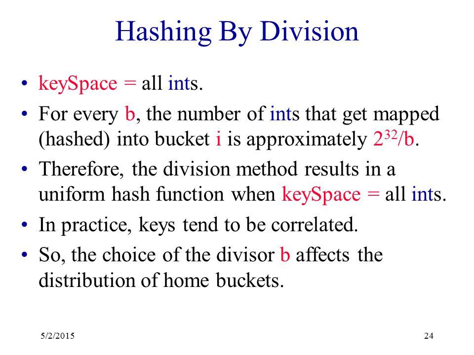 Uniform Hash Function Equivalently, the probability that a randomly selected key has bucket i as its home bucket is 1/b, 0 <= i < b. A uniform hash fu