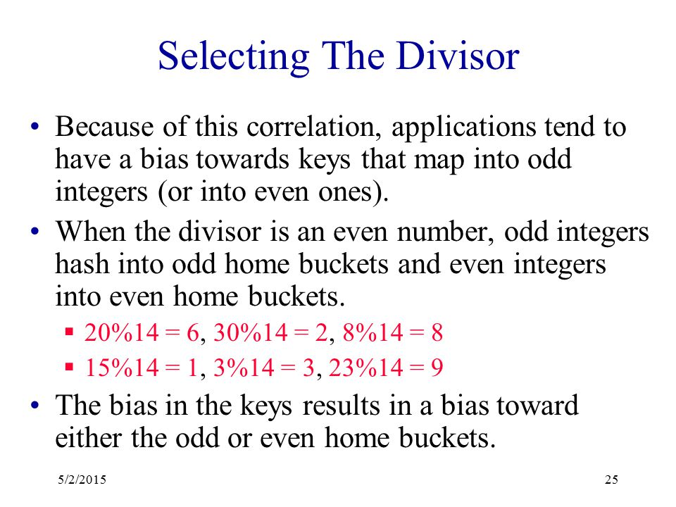 Hashing By Division keySpace = all ints.