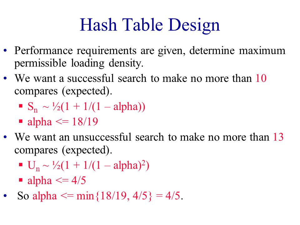 Expected Performance S n ~ ½(1 + 1/(1 – alpha)) U n ~ ½(1 + 1/(1 – alpha) 2 ) Note that 0 <= alpha <= 1. Alpha <= 0.75 is recommended.