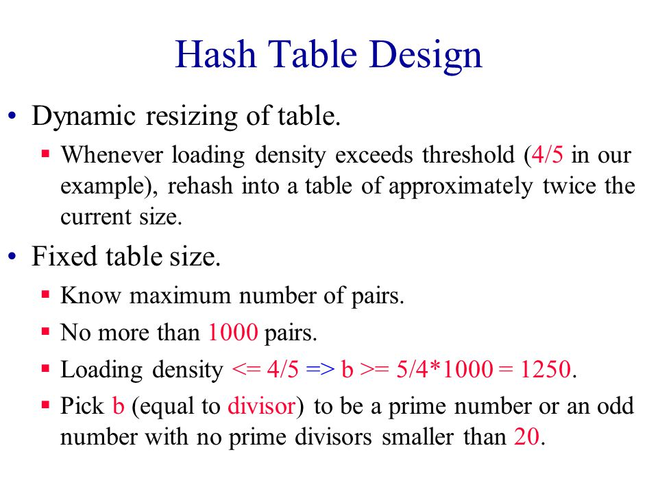 Hash Table Design Performance requirements are given, determine maximum permissible loading density. We want a successful search to make no more than