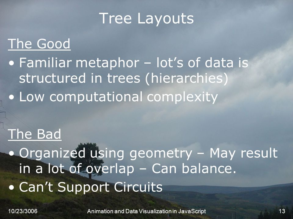 10/23/3006Animation and Data Visualization in JavaScript13 Tree Layouts The Good Familiar metaphor – lot's of data is structured in trees (hierarchies) Low computational complexity The Bad Organized using geometry – May result in a lot of overlap – Can balance.