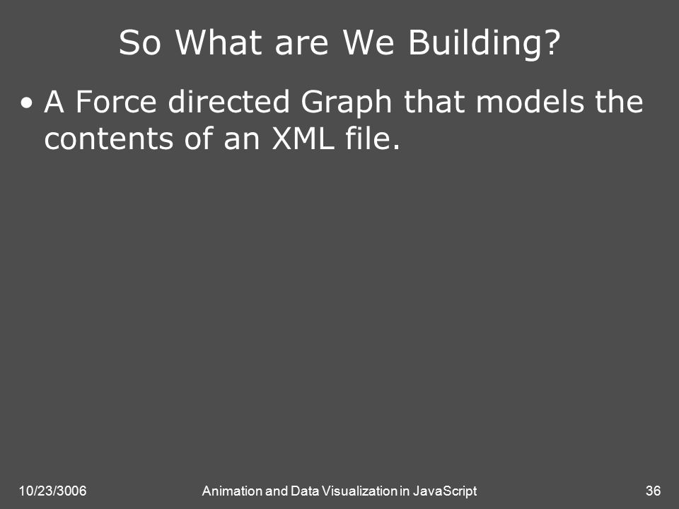 10/23/3006Animation and Data Visualization in JavaScript36 So What are We Building.