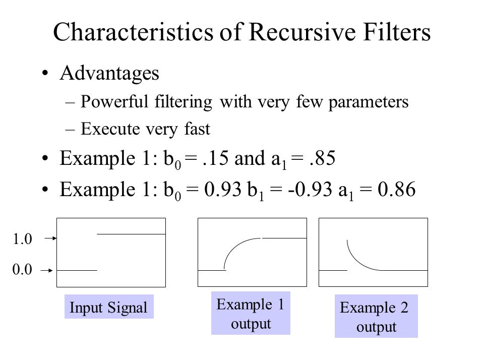 Characteristics of Recursive Filters Advantages –Powerful filtering with very few parameters –Execute very fast Example 1: b 0 =.15 and a 1 =.85 Examp
