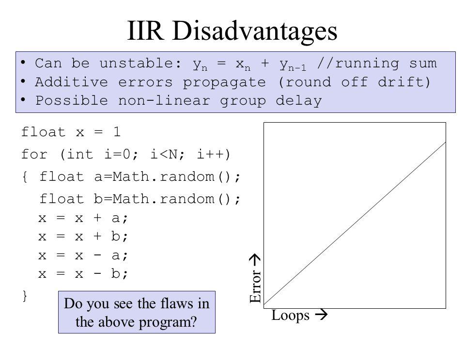 IIR Disadvantages float x = 1 for (int i=0; i<N; i++) { float a=Math.random(); float b=Math.random(); x = x + a; x = x + b; x = x - a; x = x - b; } Loops  Error  Do you see the flaws in the above program.