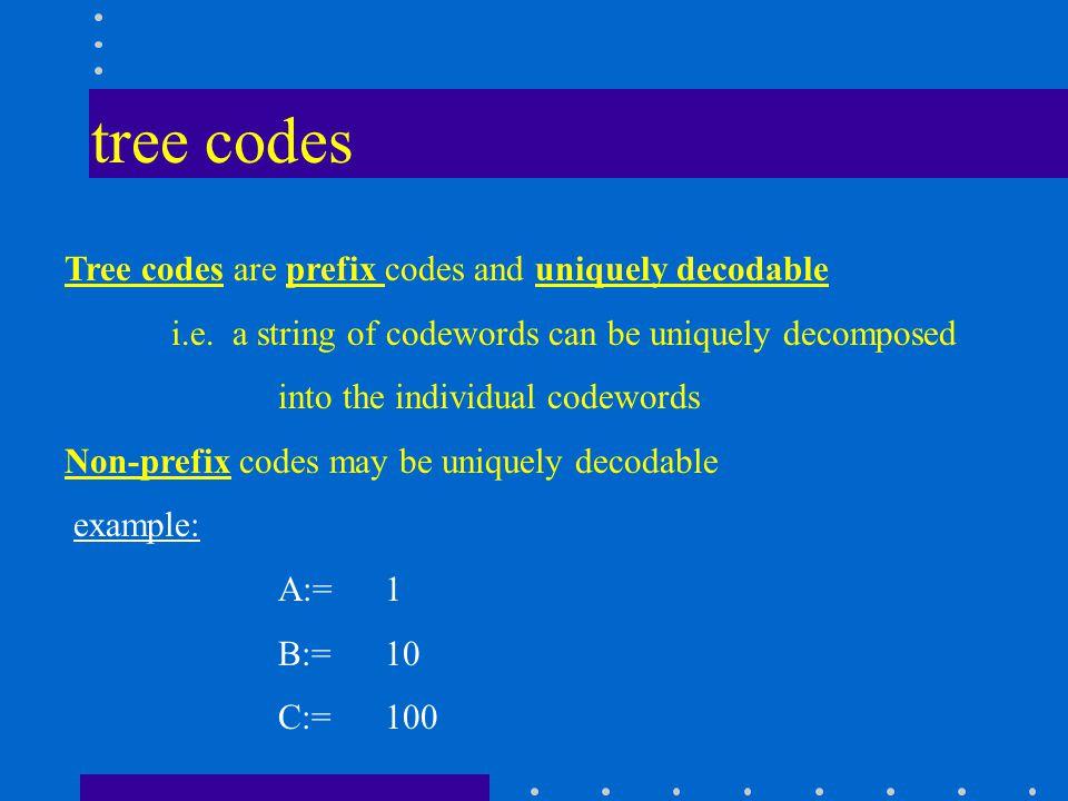tree codes Tree codes are prefix codes and uniquely decodable i.e.