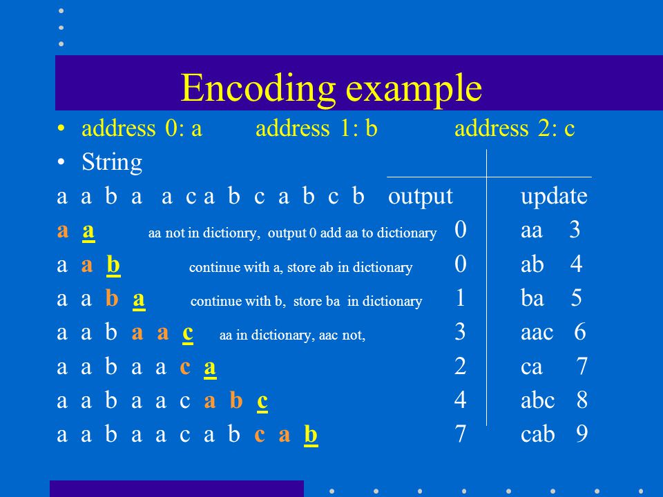 Encoding example address 0: aaddress 1: baddress 2: c String a a b a a c a b c a b c boutputupdate a a aa not in dictionry, output 0 add aa to dictionary 0aa 3 a a b continue with a, store ab in dictionary 0ab 4 a a b a continue with b, store ba in dictionary 1ba 5 a a b a a c aa in dictionary, aac not, 3aac 6 a a b a a c a 2ca 7 a a b a a c a b c 4abc 8 a a b a a c a b c a b 7cab 9