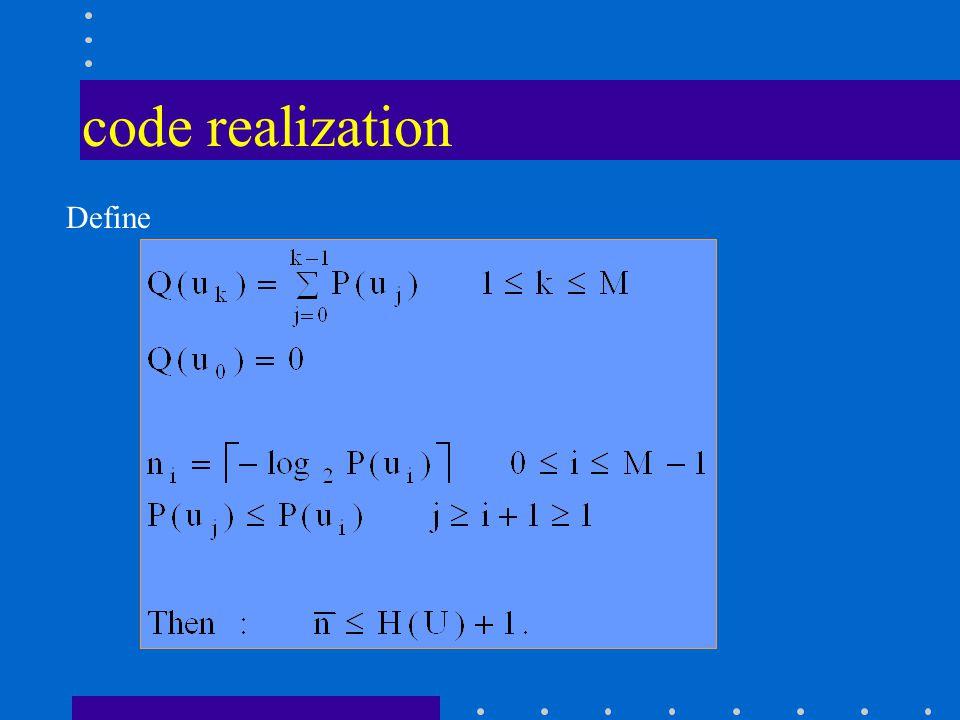 code realization Define