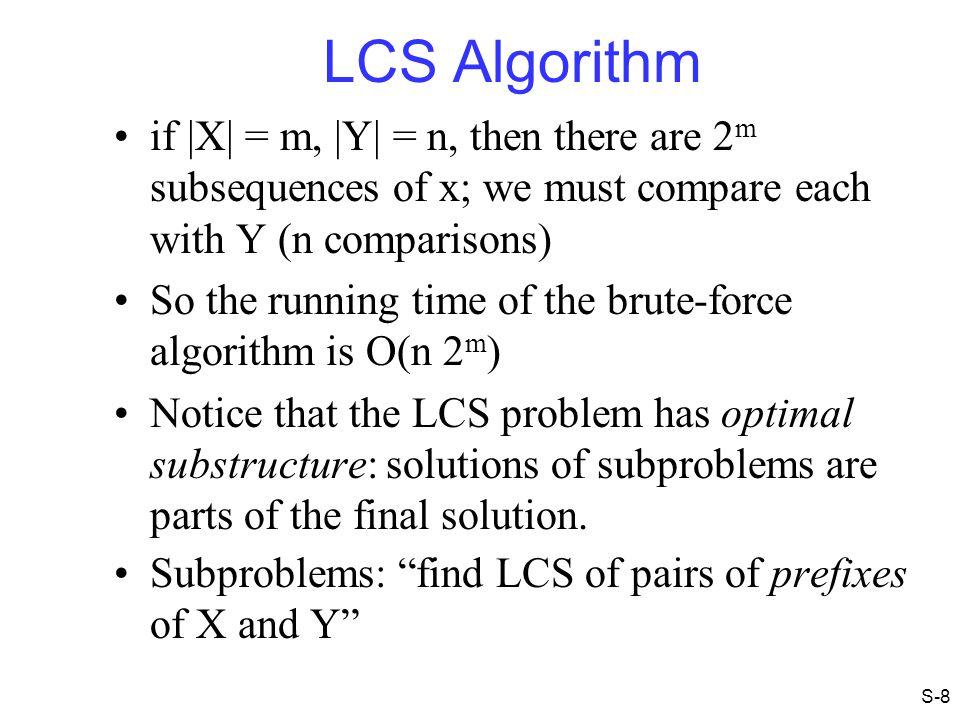 LCS Example (4) j 0 1 2 3 4 5 0 1 2 3 4 i Xi A B C B YjBBACD 0 0 00000 0 0 0 if ( X i == Y j ) c[i,j] = c[i-1,j-1] + 1 else c[i,j] = max( c[i-1,j], c[i,j-1] ) 0001 ABCB BDCAB S-19