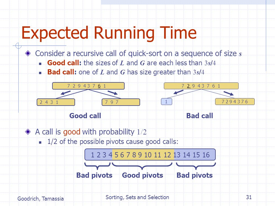 Goodrich, Tamassia Sorting, Sets and Selection31 Expected Running Time Consider a recursive call of quick-sort on a sequence of size s Good call: the