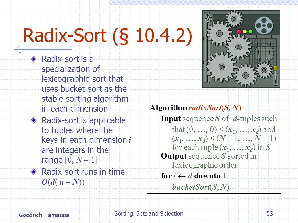 Goodrich, Tamassia Sorting, Sets and Selection53 Radix-Sort (§ 10.4.2) Radix-sort is a specialization of lexicographic-sort that uses bucket-sort as t