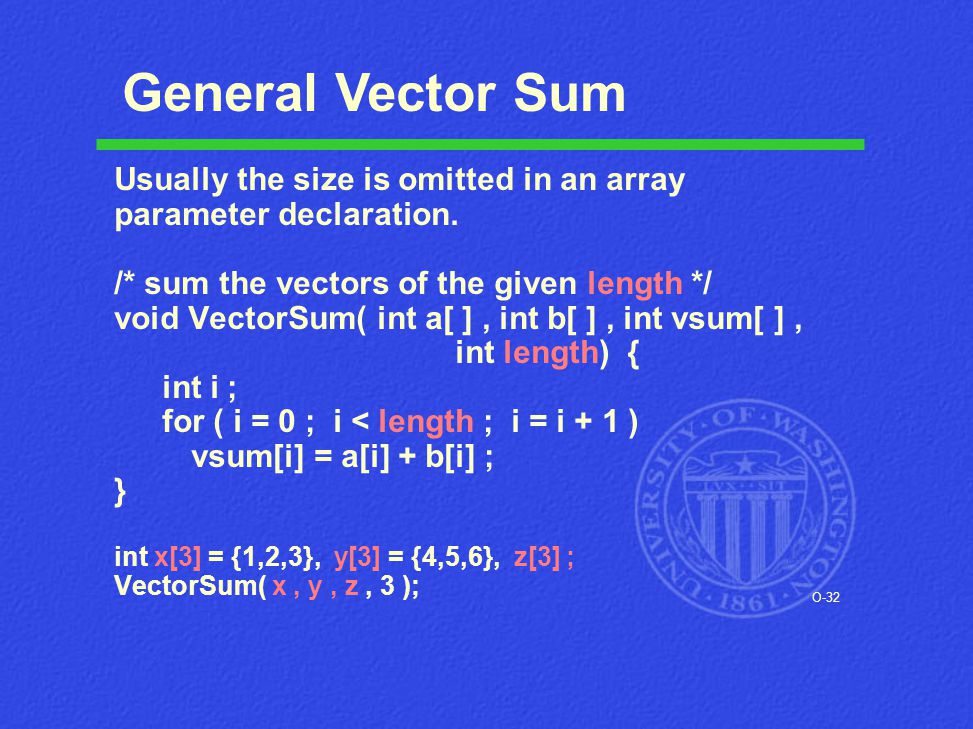 O-32 Usually the size is omitted in an array parameter declaration. /* sum the vectors of the given length */ void VectorSum( int a[ ], int b[ ], int