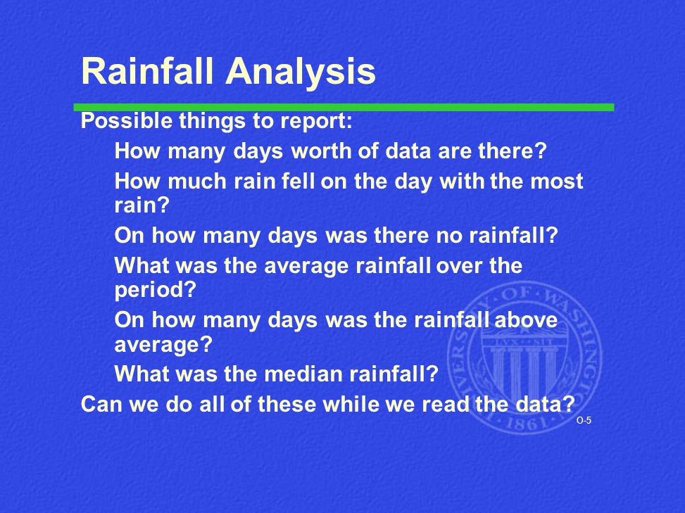 O-5 Rainfall Analysis Possible things to report: How many days worth of data are there? How much rain fell on the day with the most rain? On how many
