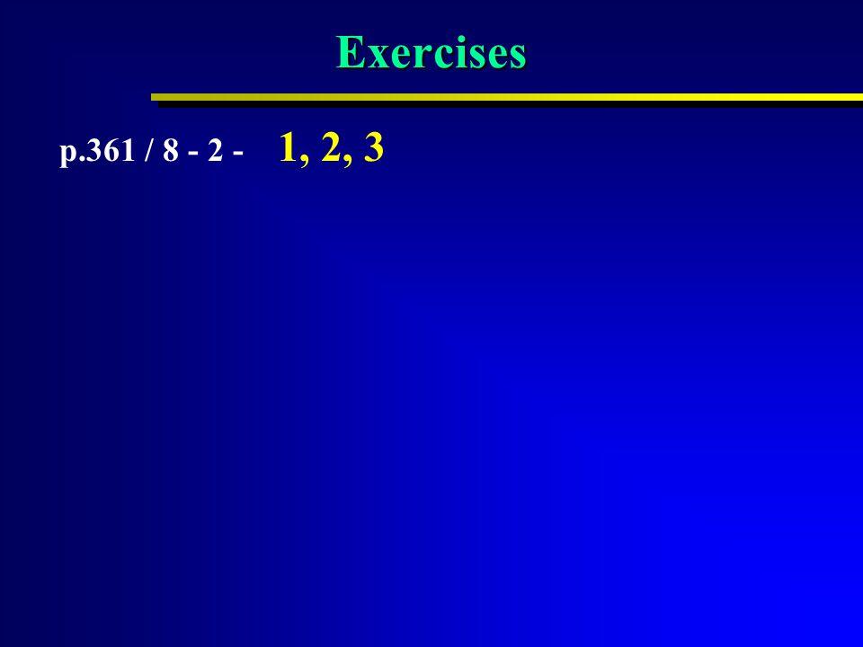 Exercises p.361 / 8 - 2 - 1, 2, 3
