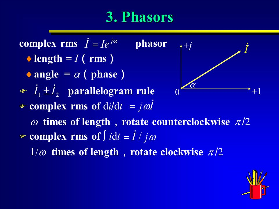 3. Phasors complex rms phasor 0 +1 +j+j   complex rms of di / dt F complex rms of  idt  length = I ( rms )  angle =  ( phase ) F parallelogram r