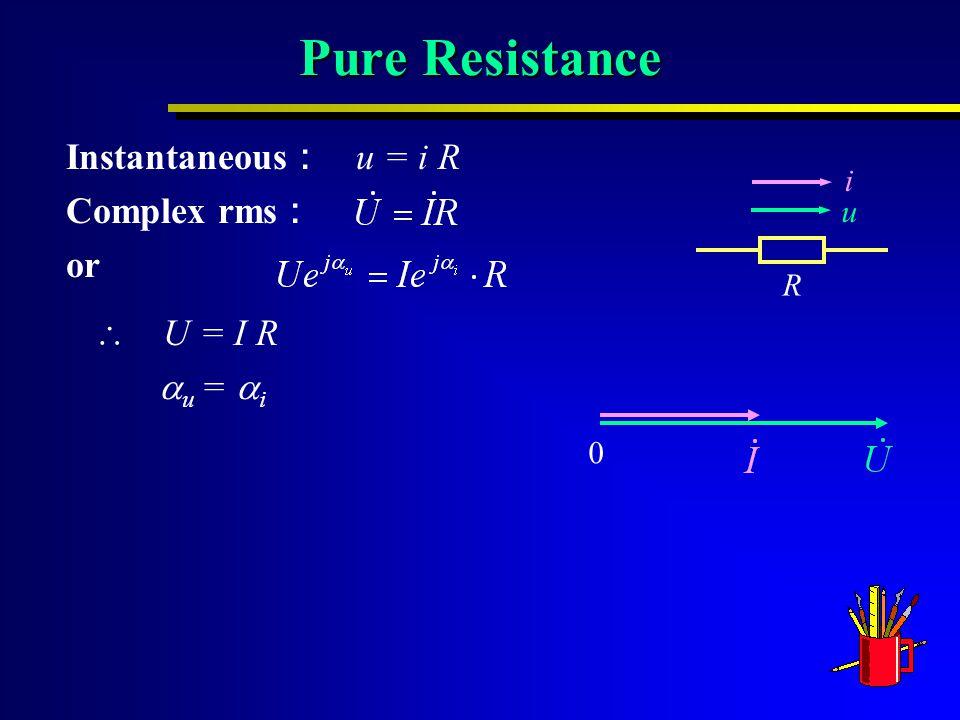 Pure Resistance Instantaneous : u = i R Complex rms : or  U = I R  u =  i 0 R i u