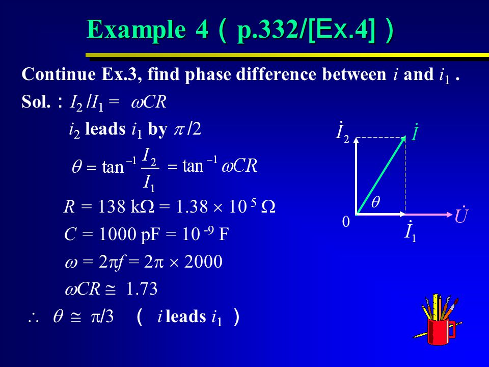 Example 4 ( p.332 /[Ex.4 ] ) Continue Ex.3, find phase difference between i and i 1.