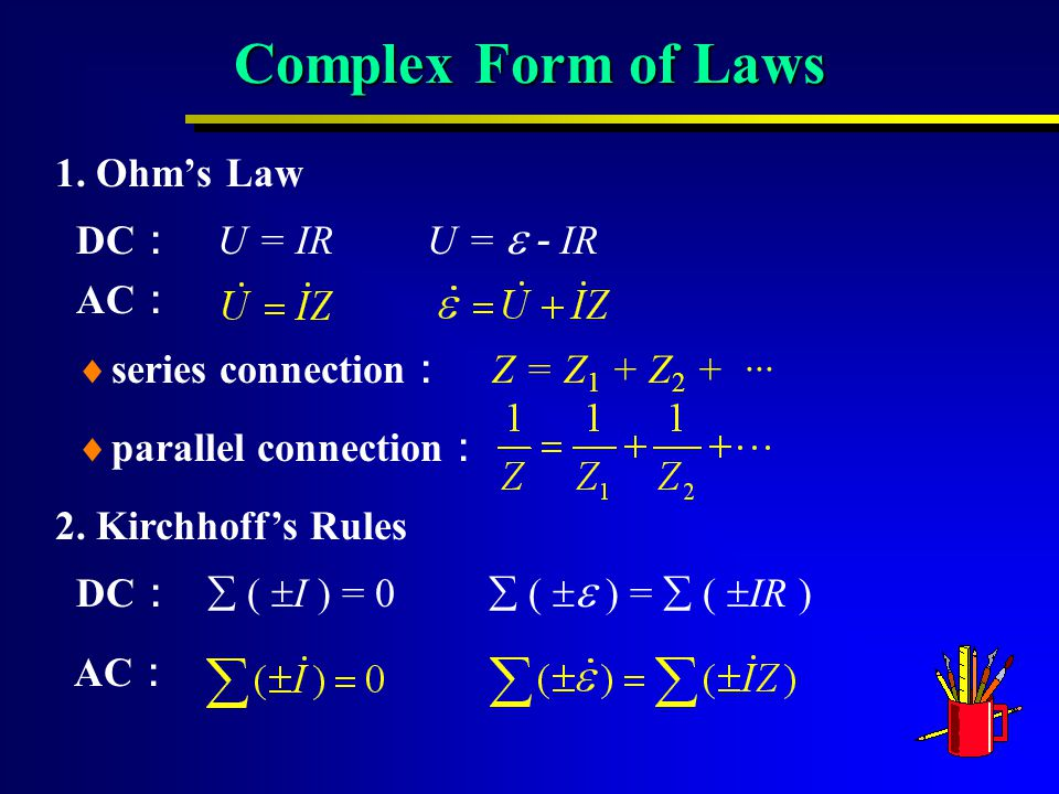 Complex Form of Laws 1.Ohm's Law DC : U = IR U =  - IR AC : 2.
