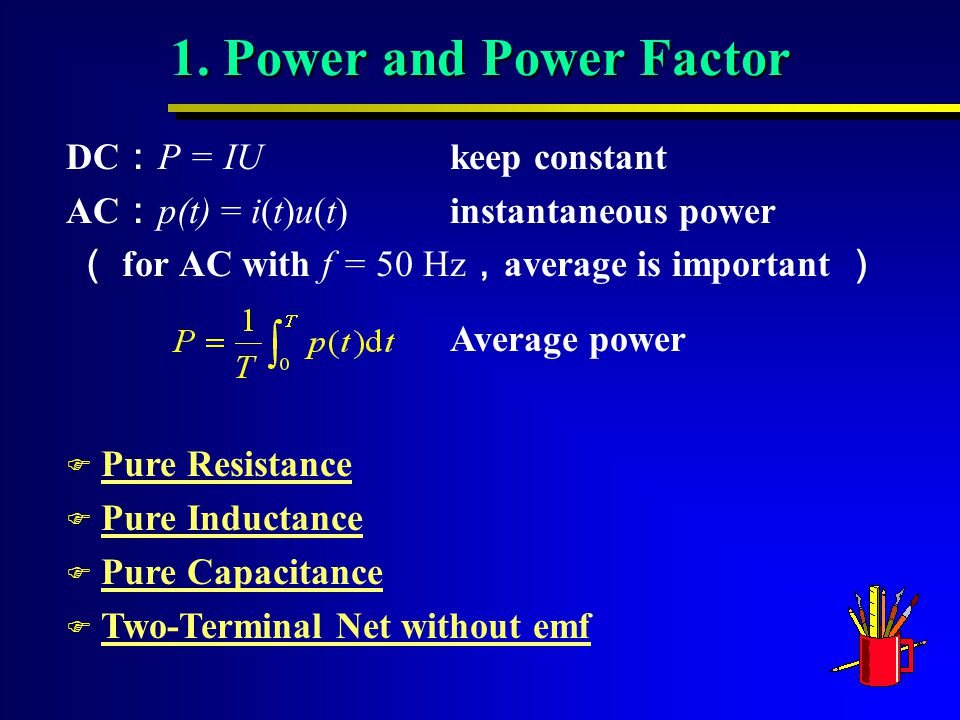 Average power F Pure ResistancePure Resistance F Pure InductancePure Inductance F Pure CapacitancePure Capacitance F Two-Terminal Net without emfTwo-Terminal Net without emf 1.