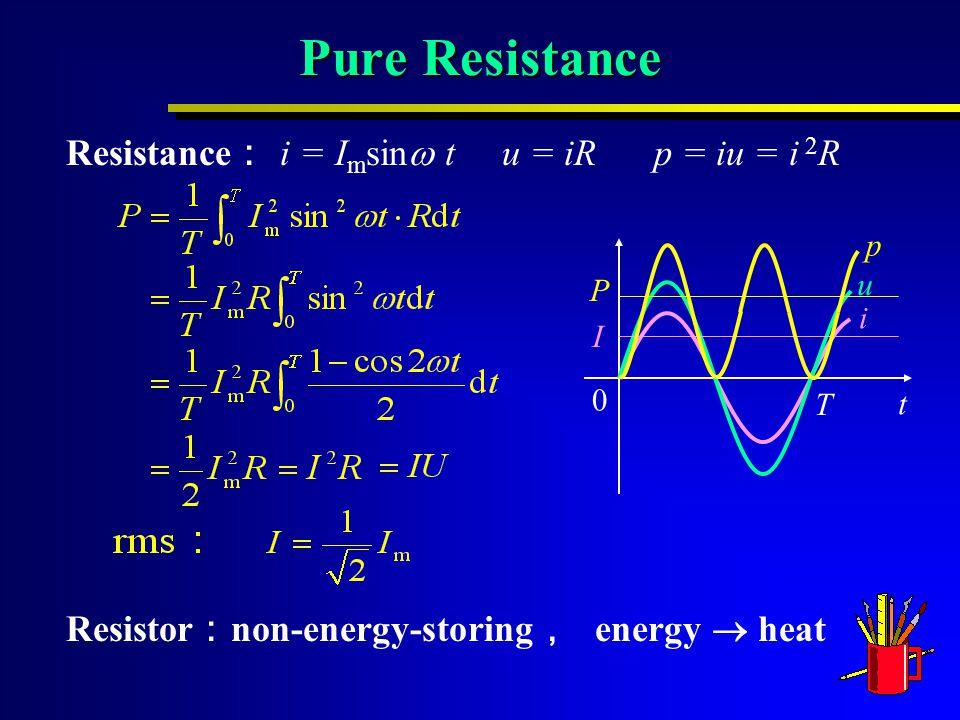 Pure Resistance Resistance : i = I m sin  t u = iR p = iu = i 2 R Resistor : non-energy-storing , energy  heat 0 t T i u P I p