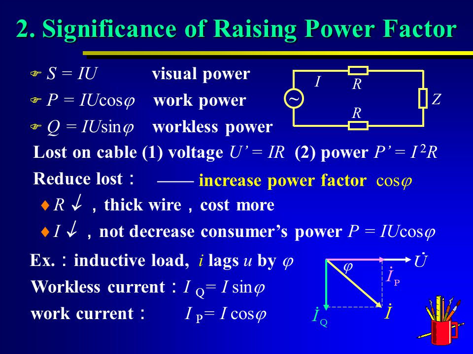 Lost on cable (1) voltage U' = IR (2) power P' = I 2 R Reduce lost :  R  , thick wire , cost more  I  , not decrease consumer's power P = IUcos  2.