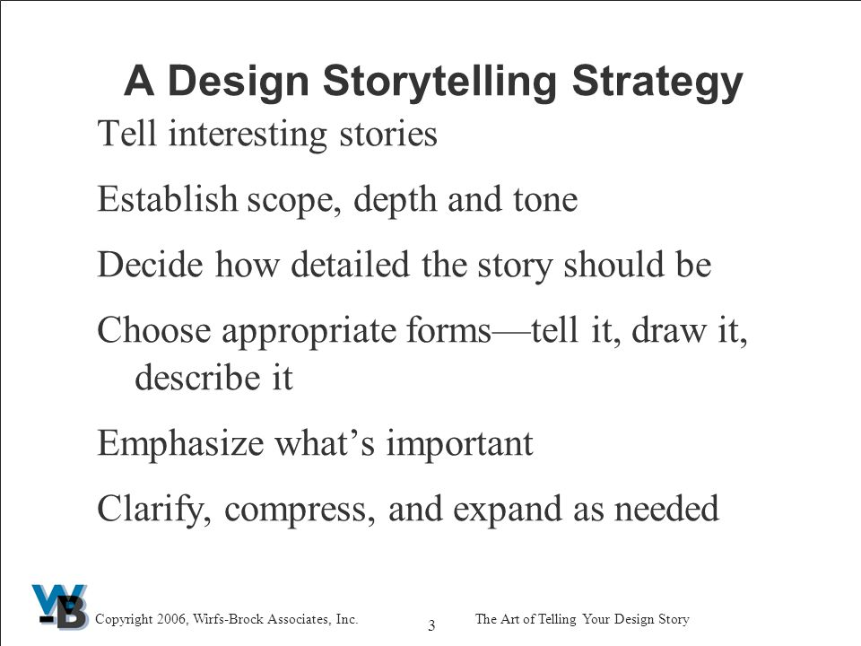 34 Copyright 2006, Wirfs-Brock Associates, Inc.The Art of Telling Your Design Story What's More Fundamental Things you cannot change Problem descriptions and requirements are more fundamental than solutions The typical case Things are more fundamental than relations between them