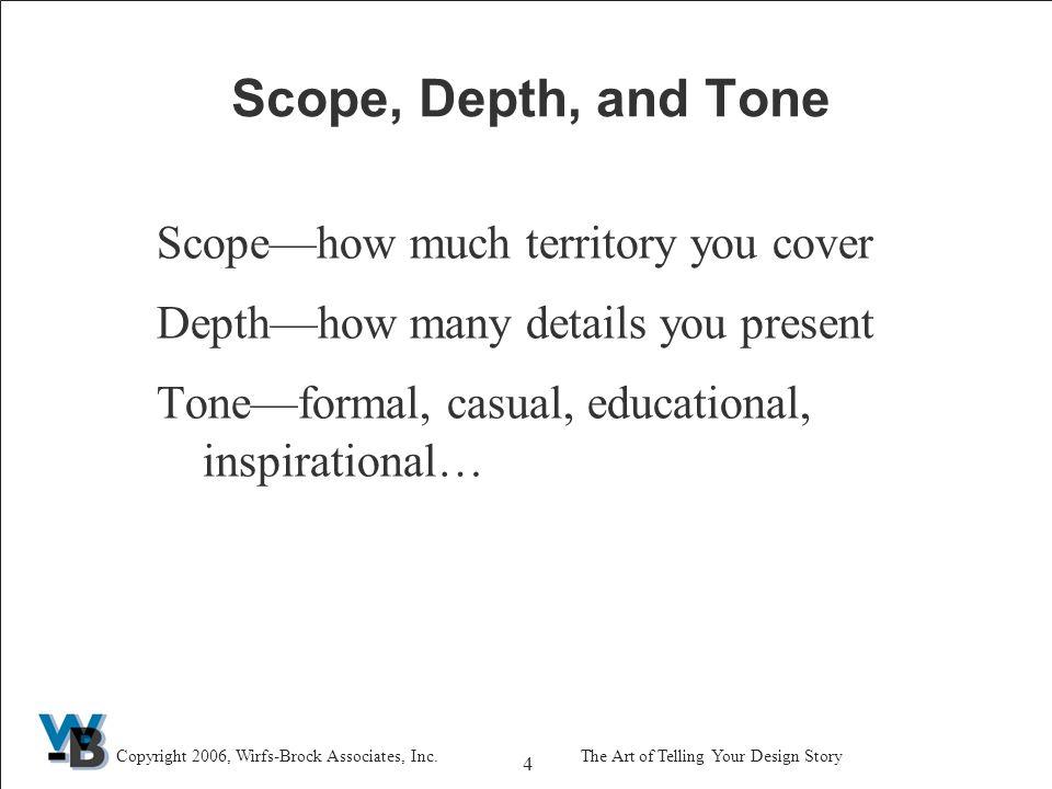 15 Copyright 2006, Wirfs-Brock Associates, Inc.The Art of Telling Your Design Story Story: Exploring Alternatives