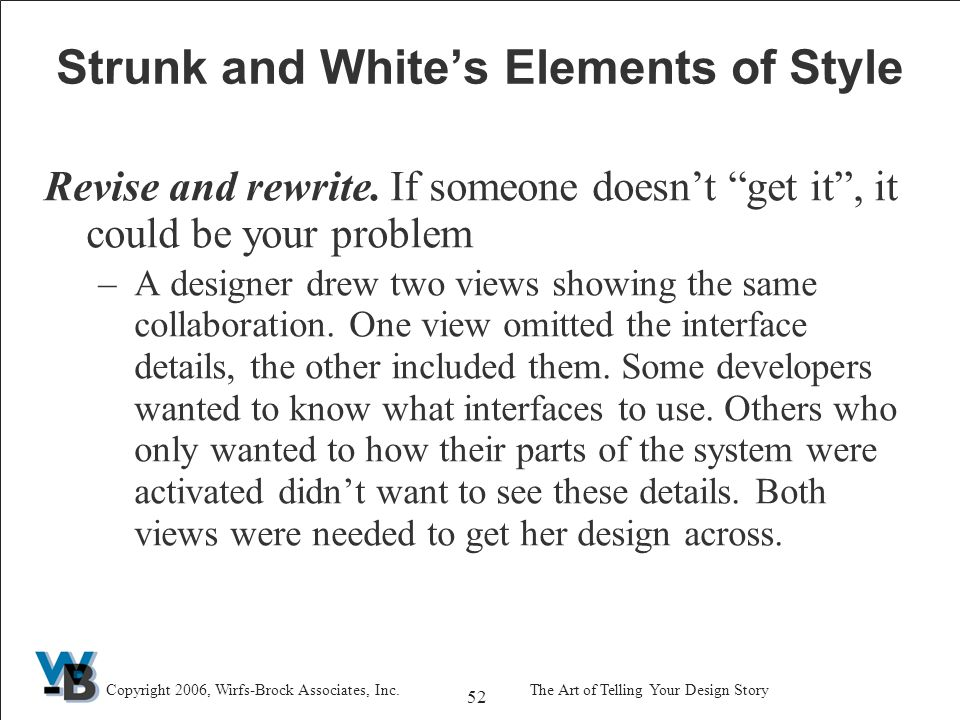 52 Copyright 2006, Wirfs-Brock Associates, Inc.The Art of Telling Your Design Story Strunk and White's Elements of Style Revise and rewrite.