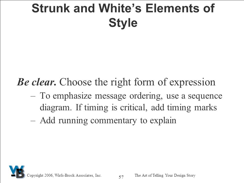57 Copyright 2006, Wirfs-Brock Associates, Inc.The Art of Telling Your Design Story Strunk and White's Elements of Style Be clear.