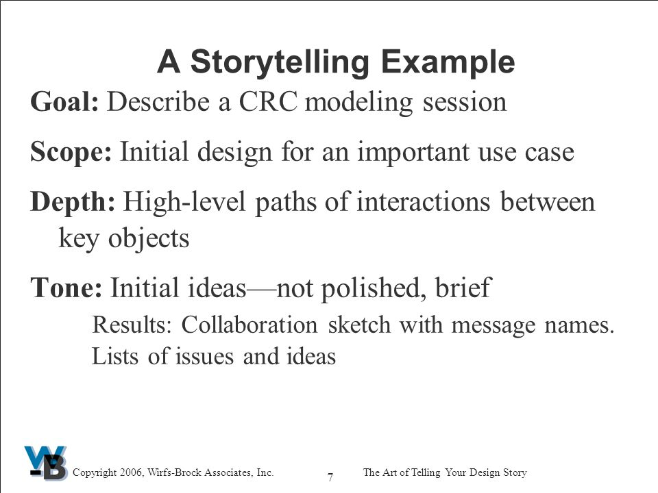 7 Copyright 2006, Wirfs-Brock Associates, Inc.The Art of Telling Your Design Story A Storytelling Example Goal: Describe a CRC modeling session Scope: Initial design for an important use case Depth: High-level paths of interactions between key objects Tone: Initial ideas—not polished, brief Results: Collaboration sketch with message names.