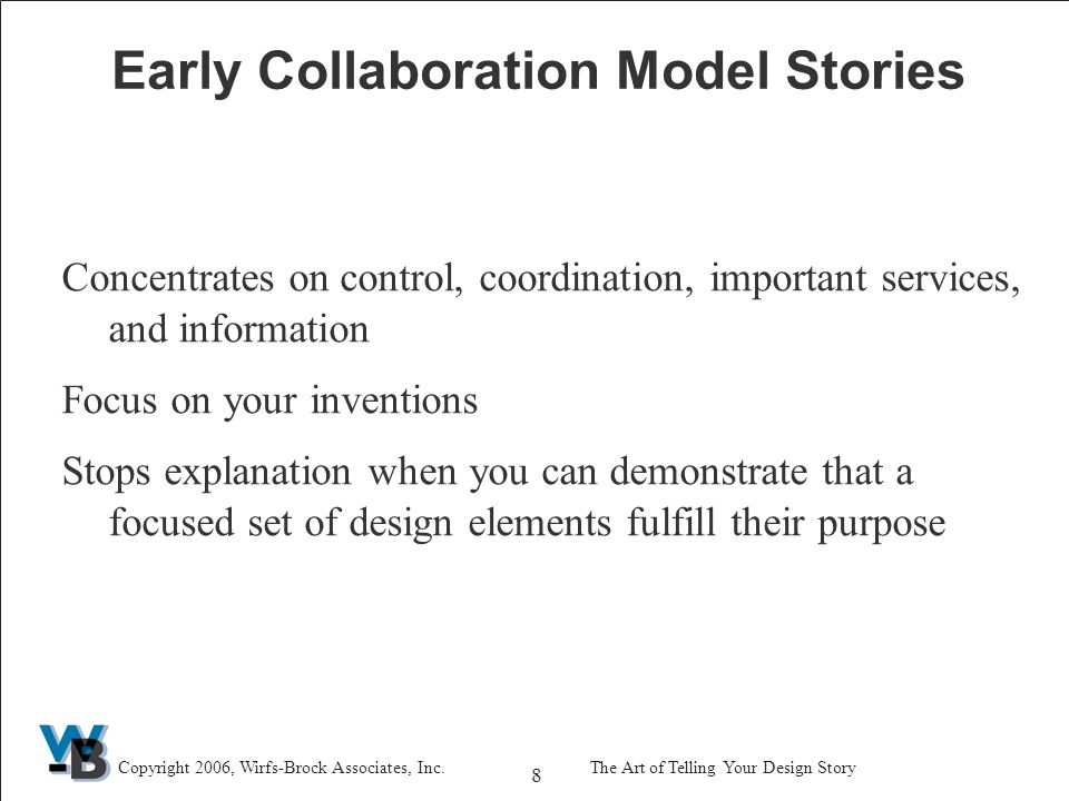 59 Copyright 2006, Wirfs-Brock Associates, Inc.The Art of Telling Your Design Story Design Representation Options Goal Simple Representation Options Describe responsibilities and collaborators CRC cards Transfer information to a document/use a table Show collaboration relationships between objects Simple Collaboration Diagram Add visibility links to make explicit who collaborates with whom Illustrate an Interaction Sequence Collaboration DiagramTo be more formal, draw a sequence diagram To explain how objects are affected, add a running commentary To explain interactions between subsystems treat them as big objects and include in diagram
