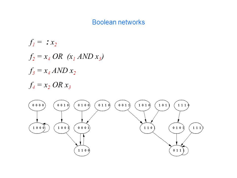 f 1 = : x 2 f 2 = x 4 OR (x 1 AND x 3 ) f 3 = x 4 AND x 2 f 4 = x 2 OR x 3 Boolean networks