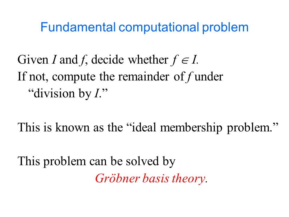 Fundamental computational problem Given I and f, decide whether f  I.