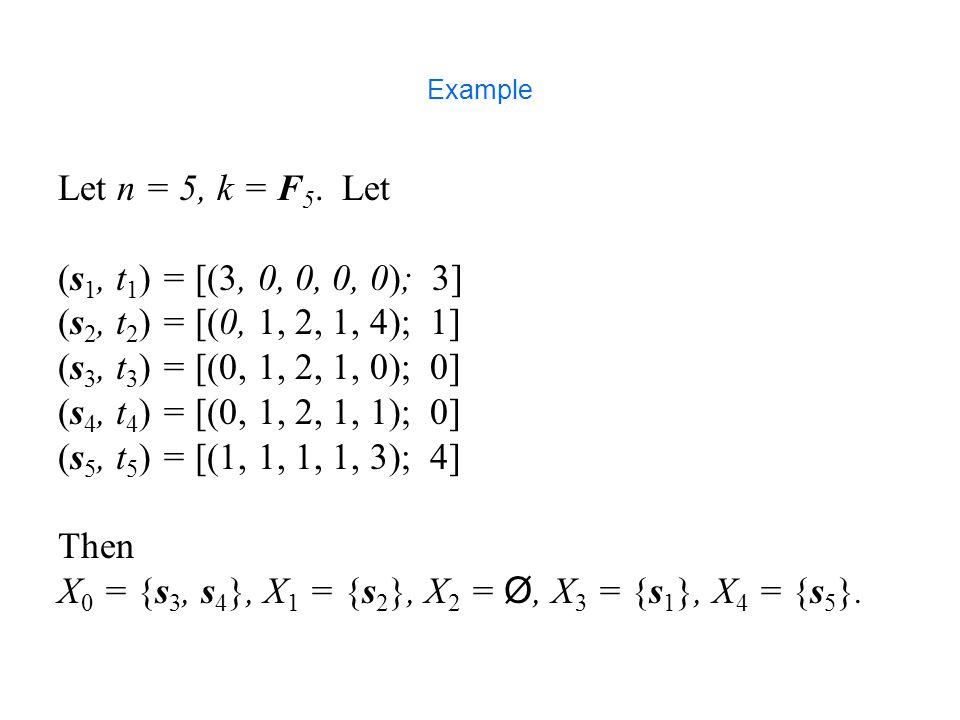Example Let n = 5, k = F 5.