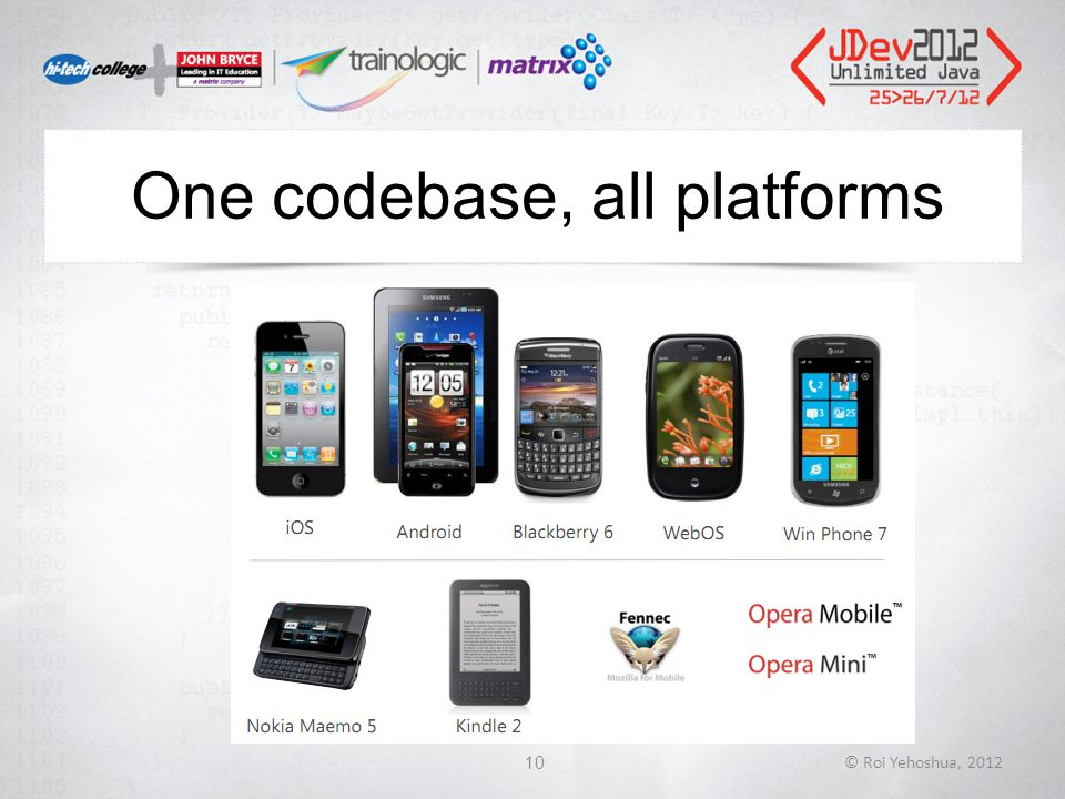 One codebase, all platforms © Roi Yehoshua, 201210
