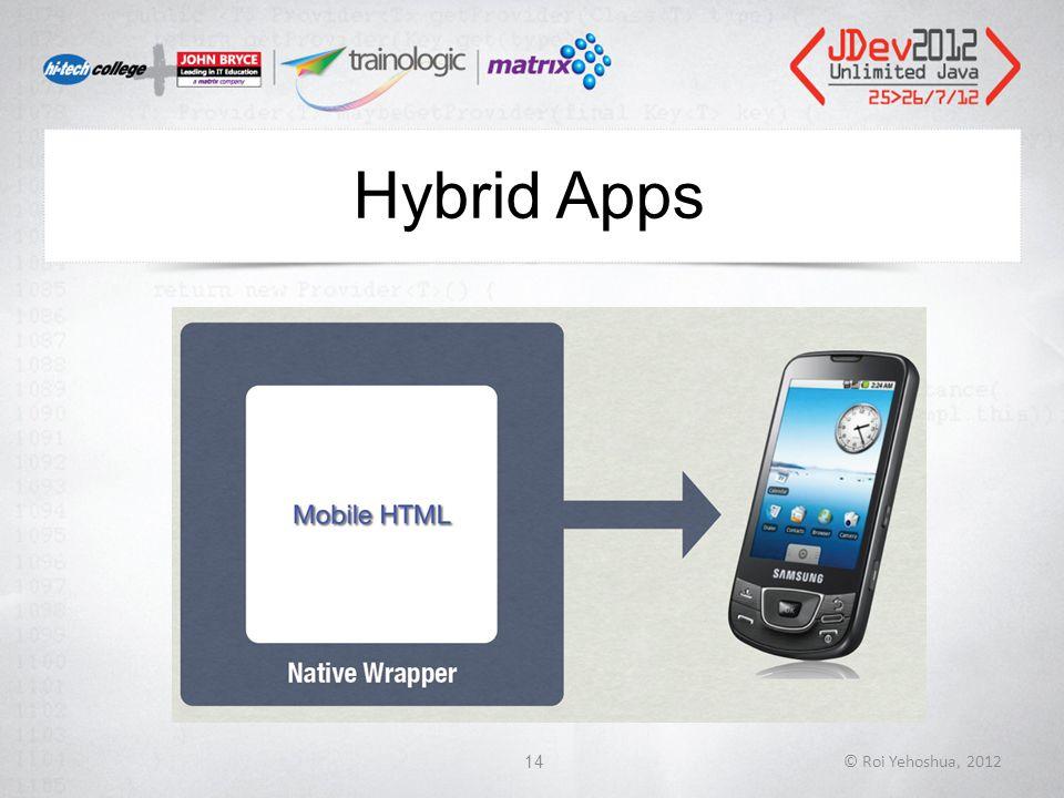 Hybrid Apps © Roi Yehoshua, 201214