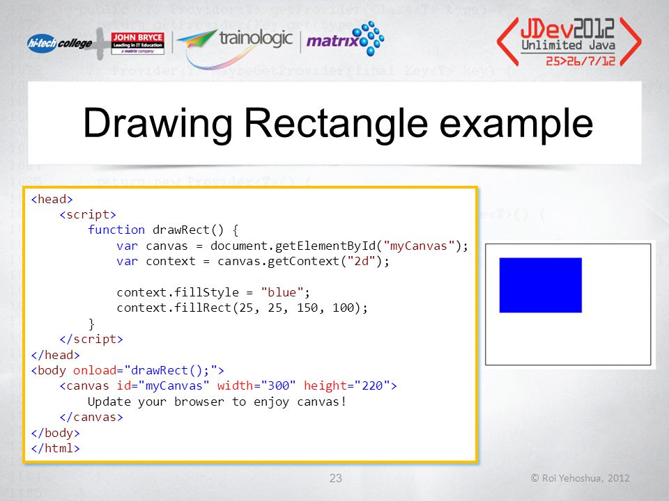 Drawing Rectangle example © Roi Yehoshua, 201223 function drawRect() { var canvas = document.getElementById( myCanvas ); var context = canvas.getContext( 2d ); context.fillStyle = blue ; context.fillRect(25, 25, 150, 100); } Update your browser to enjoy canvas.