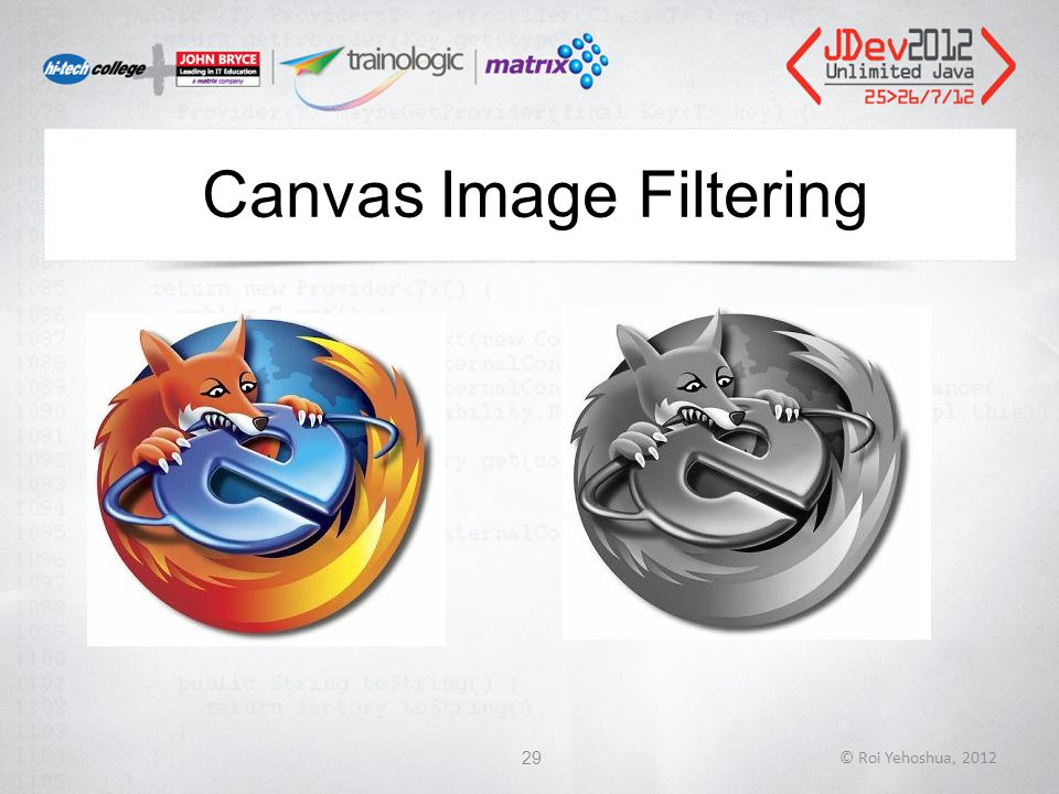 Canvas Image Filtering © Roi Yehoshua, 201229