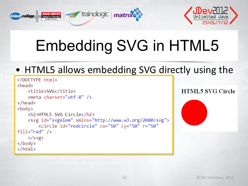 Embedding SVG in HTML5 HTML5 allows embedding SVG directly using the tag © Roi Yehoshua, 201232 SVG HTML5 SVG Circle SVG HTML5 SVG Circle