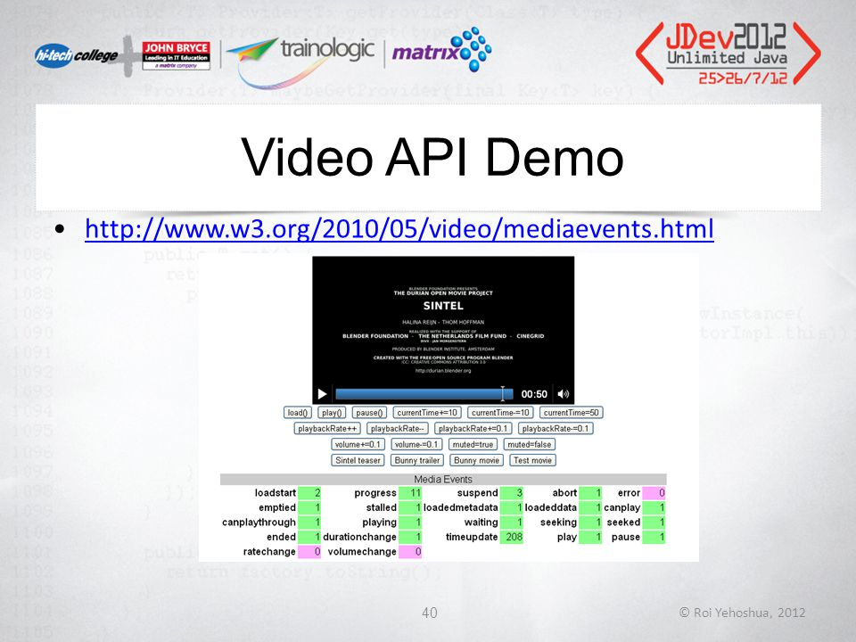 Video API Demo http://www.w3.org/2010/05/video/mediaevents.html © Roi Yehoshua, 201240