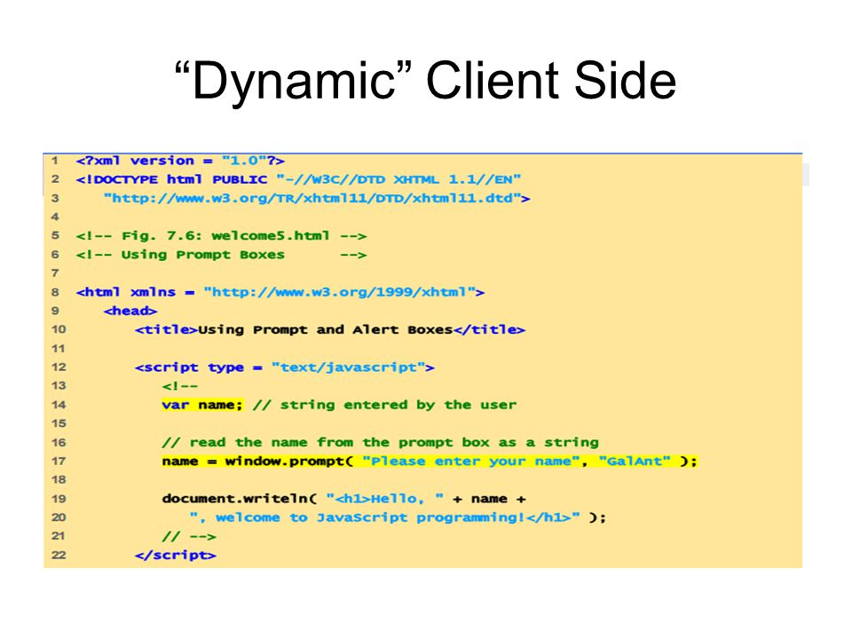"""Dynamic"" Client Side"