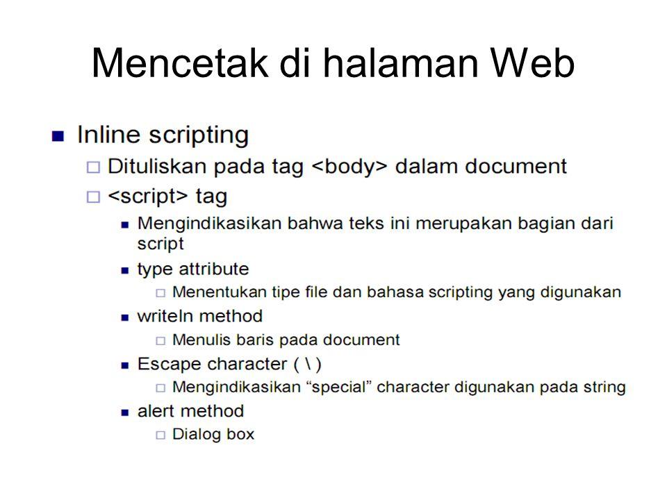 Mencetak di halaman Web
