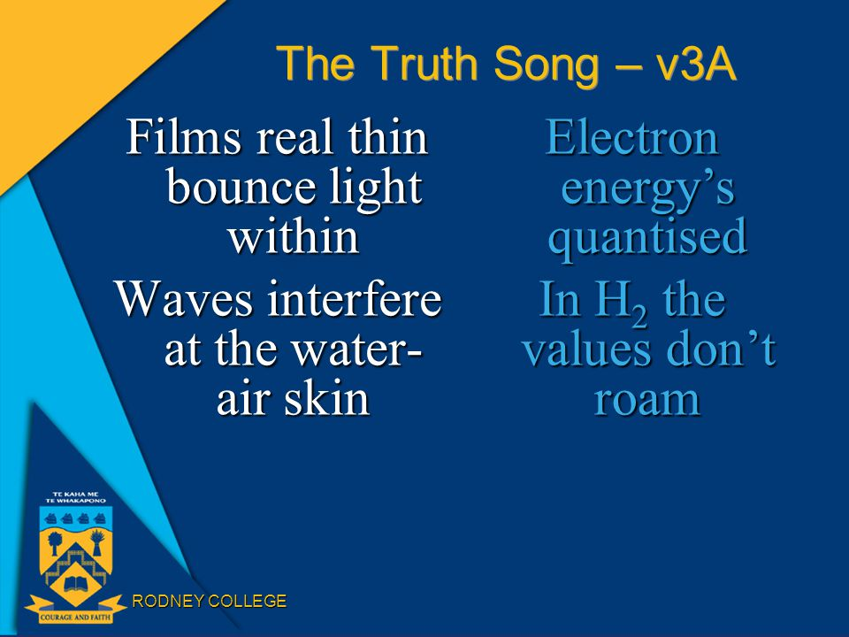 RODNEY COLLEGE The Truth Song – v3A Films real thin bounce light within Waves interfere at the water- air skin Electron energy's quantised In H 2 the values don't roam