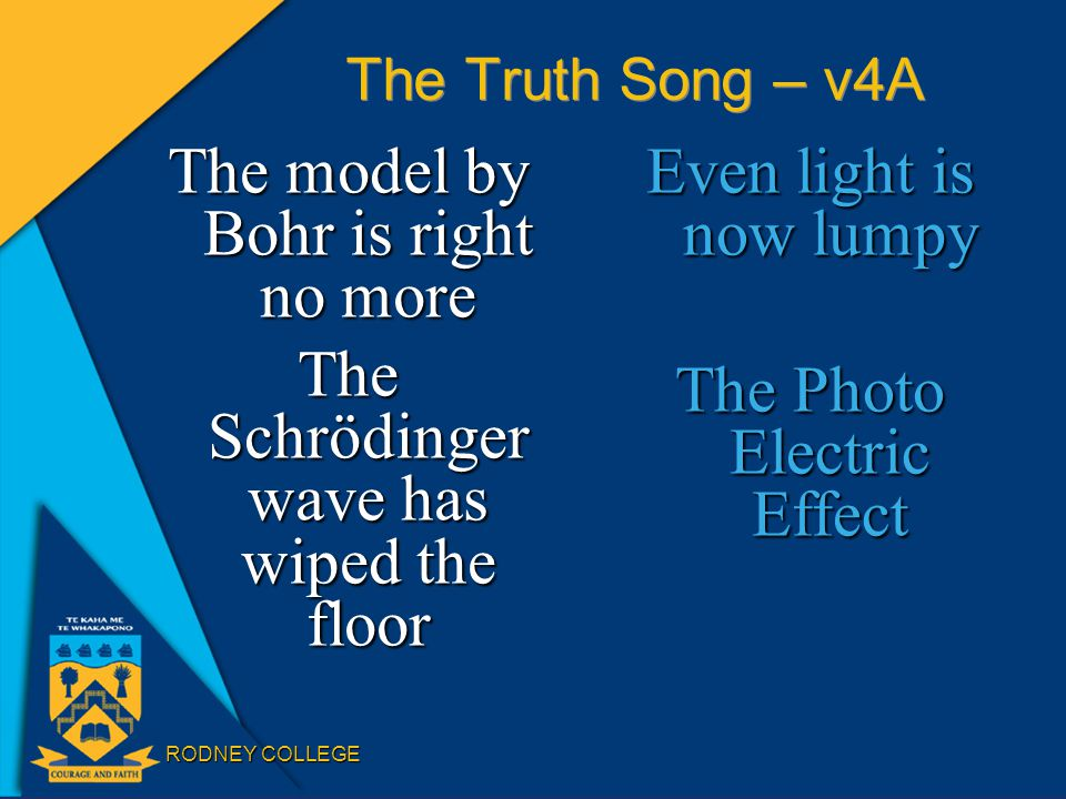 RODNEY COLLEGE The Truth Song – v4A The model by Bohr is right no more The Schrödinger wave has wiped the floor Even light is now lumpy The Photo Electric Effect